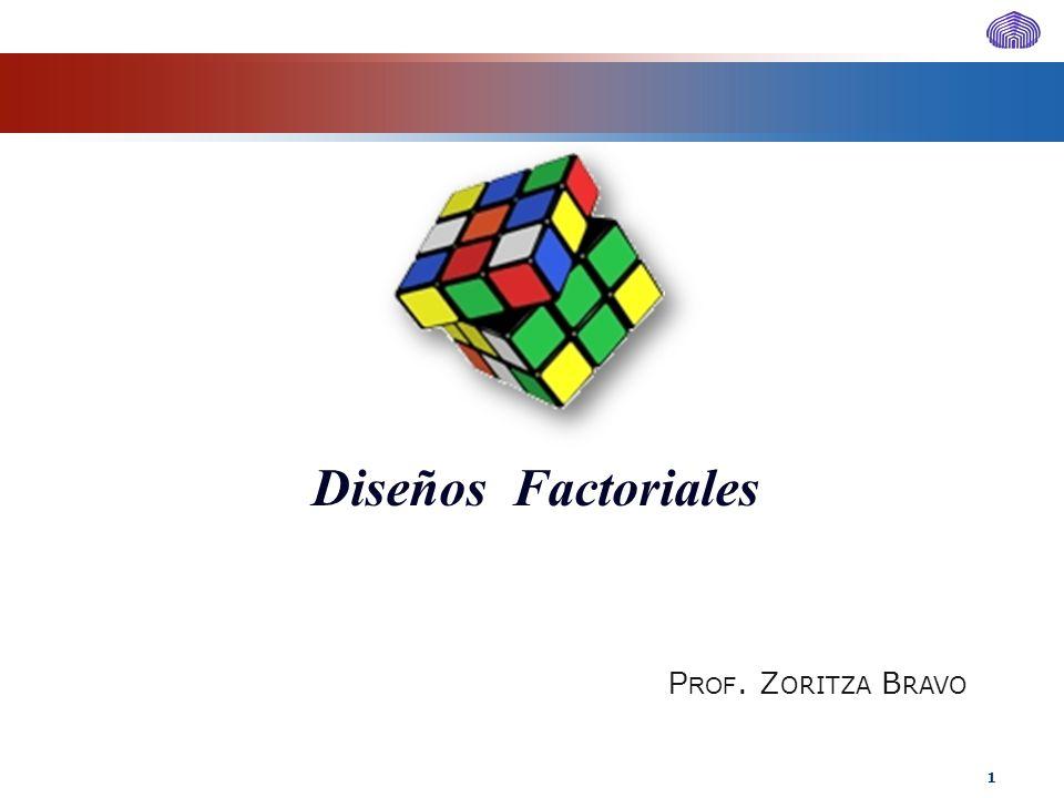 Diseños Factoriales P ROF. Z ORITZA B RAVO 1
