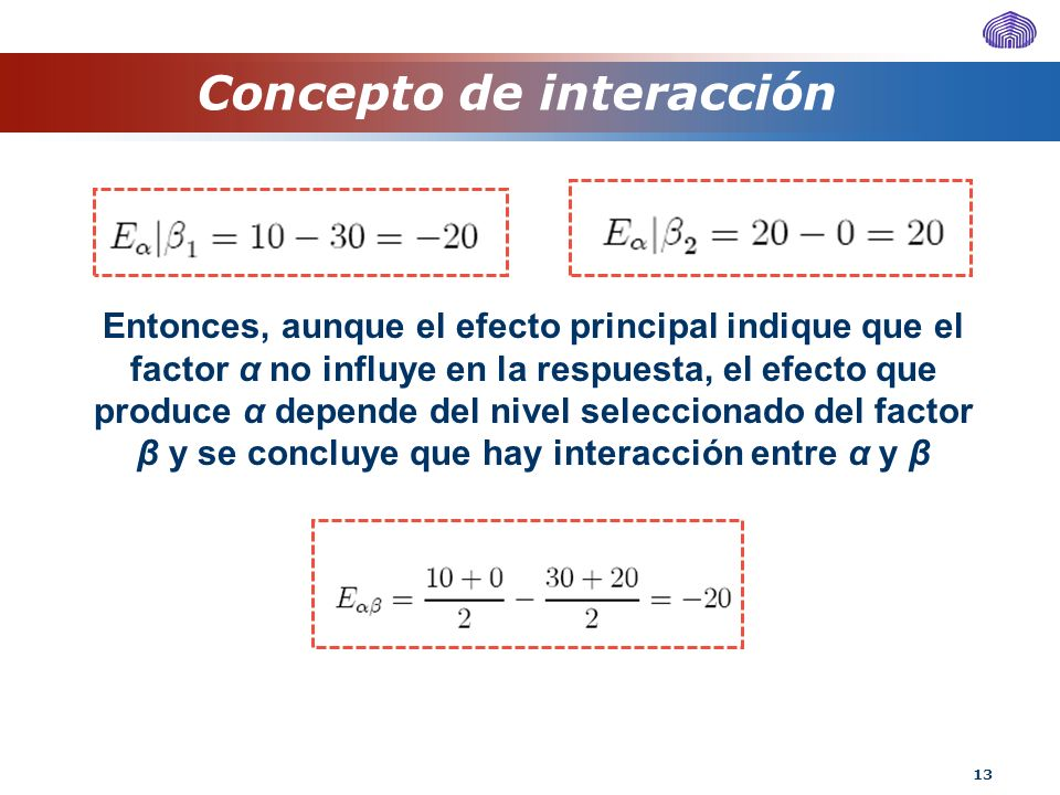 13 Concepto de interacción Entonces, aunque el efecto principal indique que el factor α no influye en la respuesta, el efecto que produce α depende de