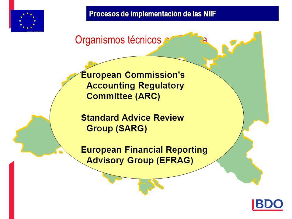 Organismos técnicos en Europa European Commission's Accounting Regulatory Committee (ARC) Standard Advice Review Group (SARG) European Financial Repor
