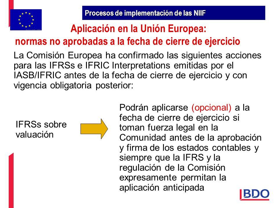 La Comisión Europea ha confirmado las siguientes acciones para las IFRSs e IFRIC Interpretations emitidas por el IASB/IFRIC antes de la fecha de cierr