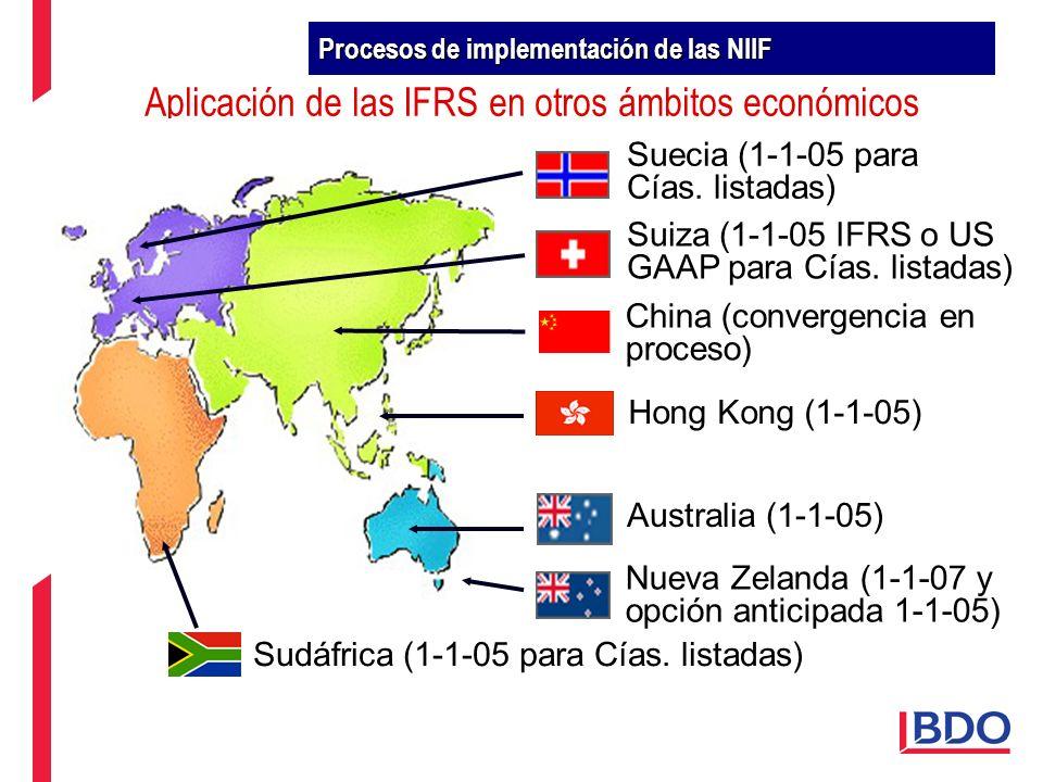Aplicación de las IFRS en otros ámbitos económicos Australia (1-1-05) Nueva Zelanda (1-1-07 y opción anticipada 1-1-05) Suiza (1-1-05 IFRS o US GAAP p