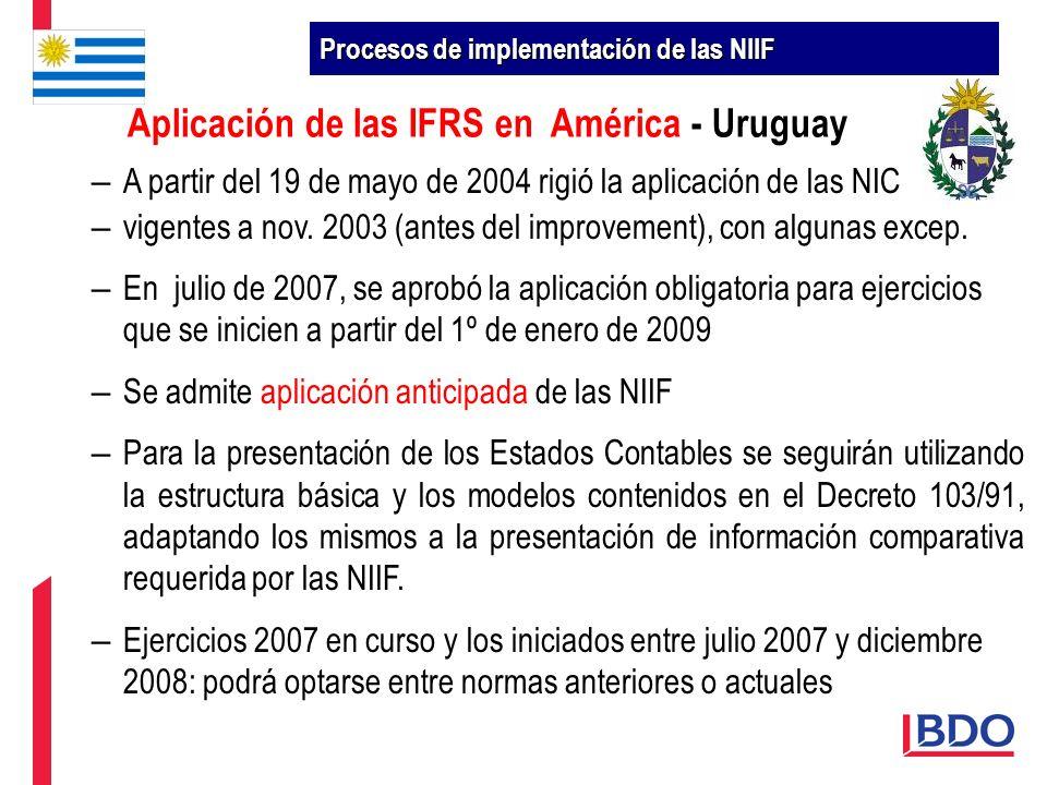 – A partir del 19 de mayo de 2004 rigió la aplicación de las NIC – vigentes a nov. 2003 (antes del improvement), con algunas excep. – En julio de 2007