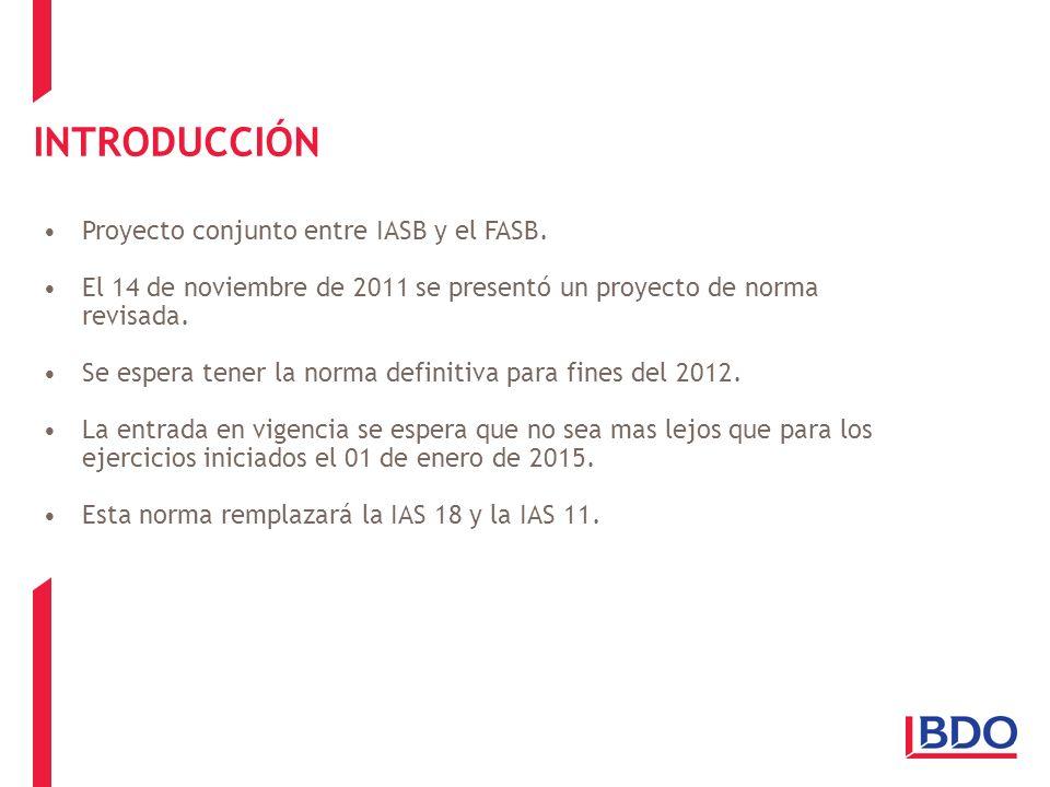 Proyecto conjunto entre IASB y el FASB. El 14 de noviembre de 2011 se presentó un proyecto de norma revisada. Se espera tener la norma definitiva para