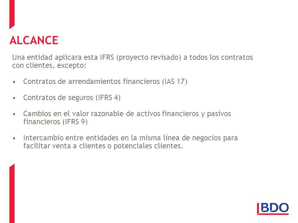 ALCANCE Una entidad aplicara esta IFRS (proyecto revisado) a todos los contratos con clientes, excepto: Contratos de arrendamientos financieros (IAS 1