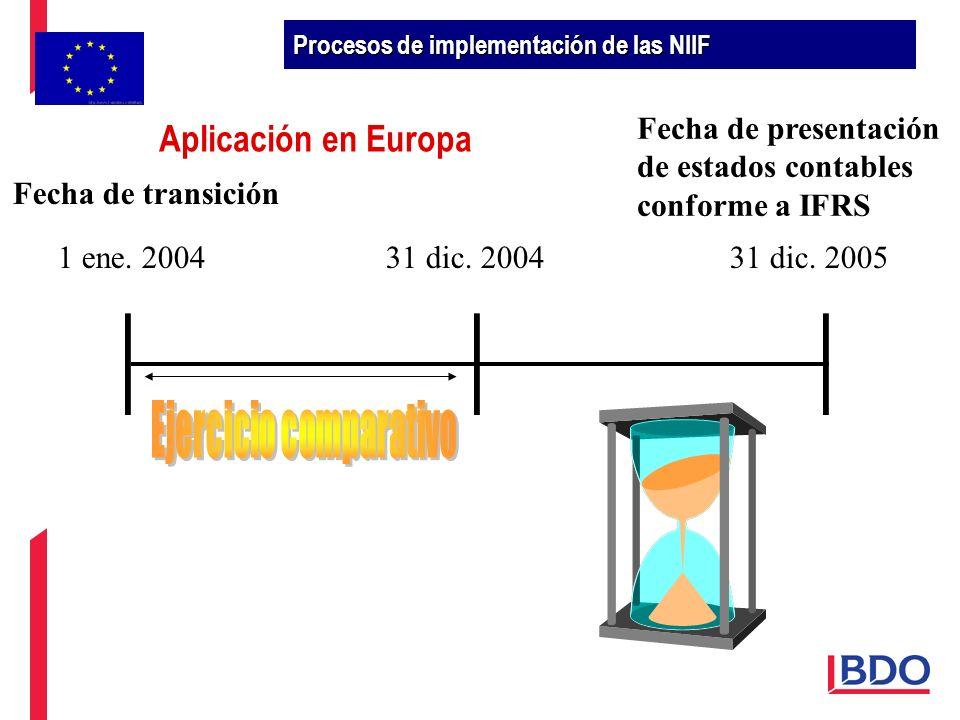 1 ene. 200431 dic. 200431 dic. 2005 Fecha de transición Fecha de presentación de estados contables conforme a IFRS Procesos de implementación de las N