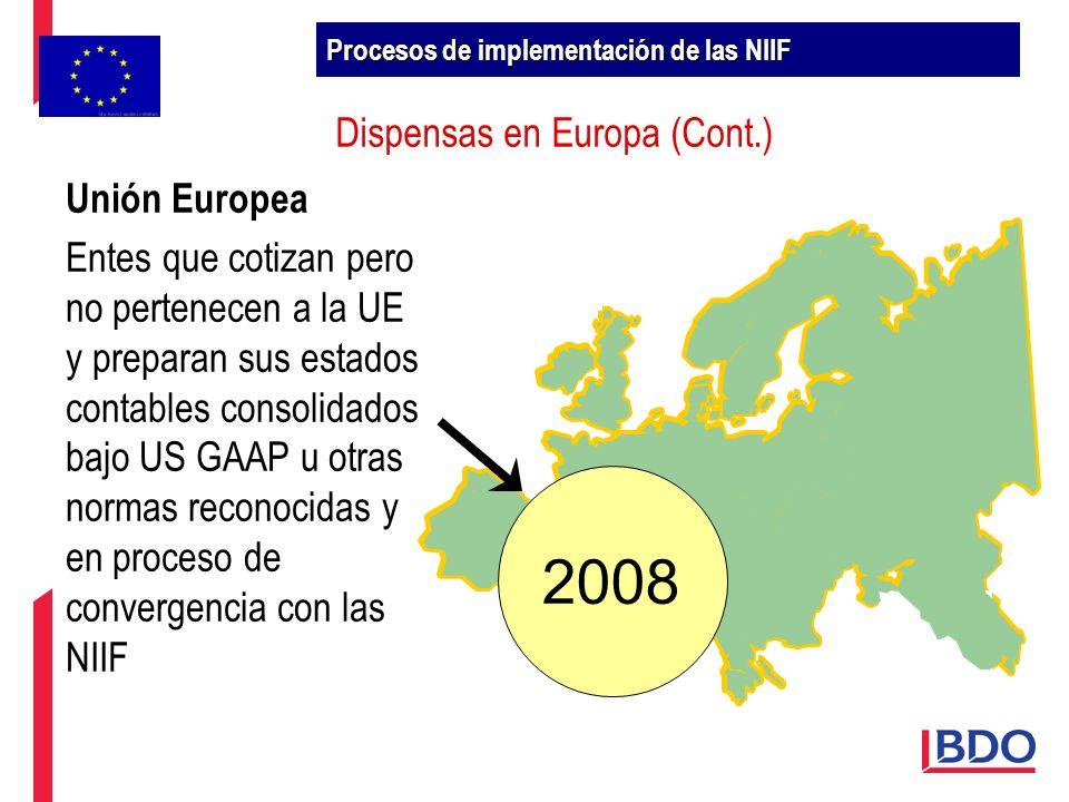 Dispensas en Europa (Cont.) 2008 Unión Europea Entes que cotizan pero no pertenecen a la UE y preparan sus estados contables consolidados bajo US GAAP