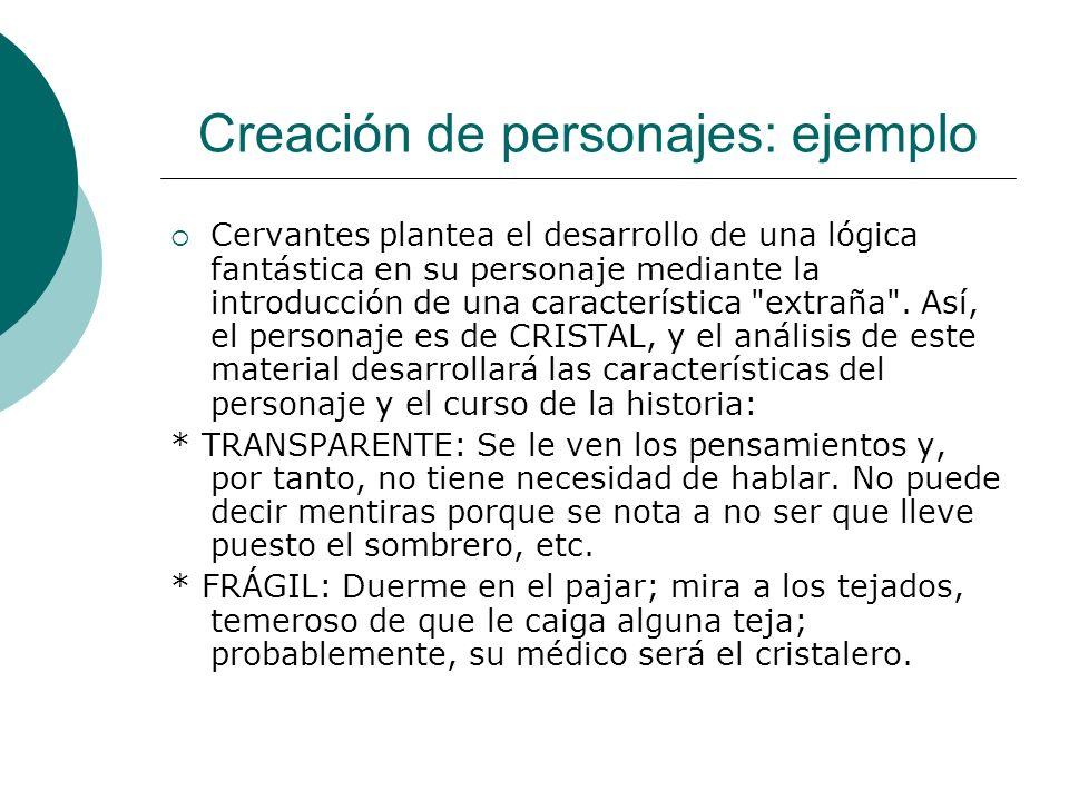 Creación de personajes: ejemplo Cervantes plantea el desarrollo de una lógica fantástica en su personaje mediante la introducción de una característic