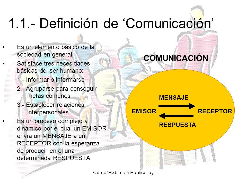 Curso 'Hablar en Público' by 1.1.- Definición de Comunicación Es un elemento básico de la sociedad en general. Satisface tres necesidades básicas del