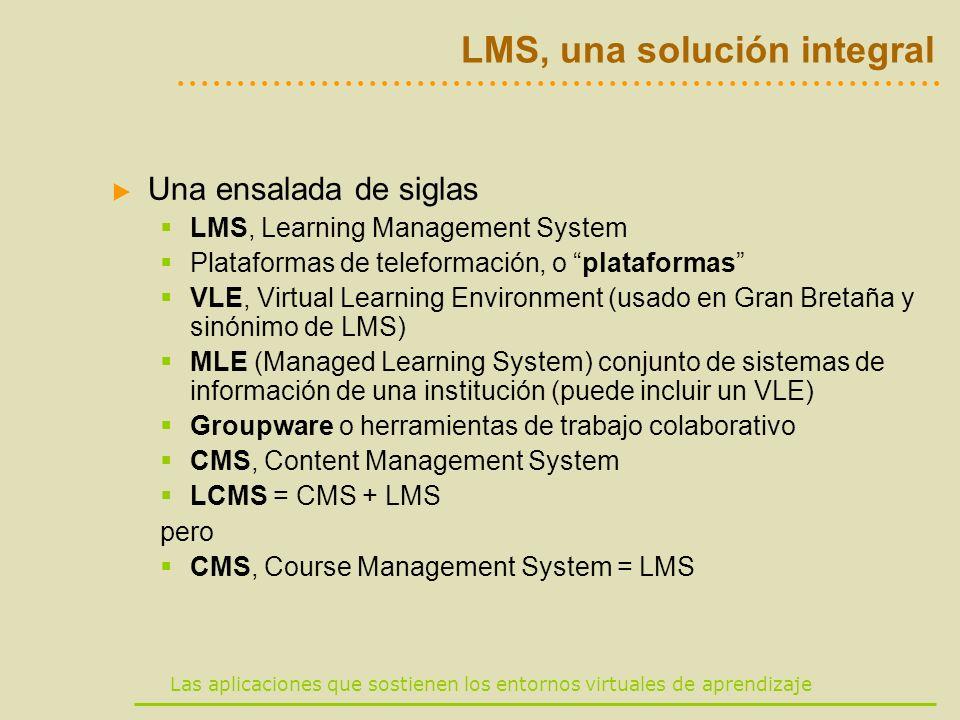 Las aplicaciones que sostienen los entornos virtuales de aprendizaje LMS, una solución integral Una ensalada de siglas LMS, Learning Management System