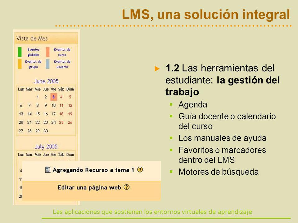 Las aplicaciones que sostienen los entornos virtuales de aprendizaje LMS, una solución integral 1.2 Las herramientas del estudiante: la gestión del tr
