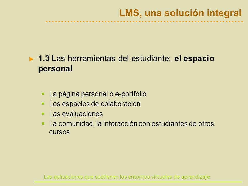 Las aplicaciones que sostienen los entornos virtuales de aprendizaje LMS, una solución integral 1.3 Las herramientas del estudiante: el espacio person