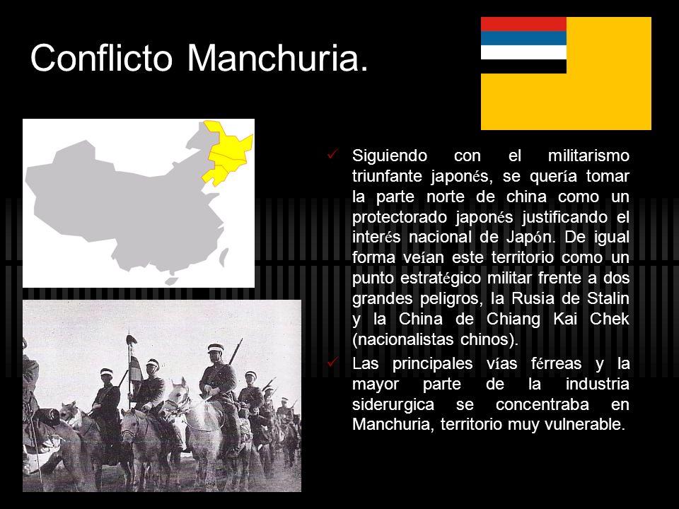 Conflicto Manchuria. Siguiendo con el militarismo triunfante japon é s, se quer í a tomar la parte norte de china como un protectorado japon é s justi