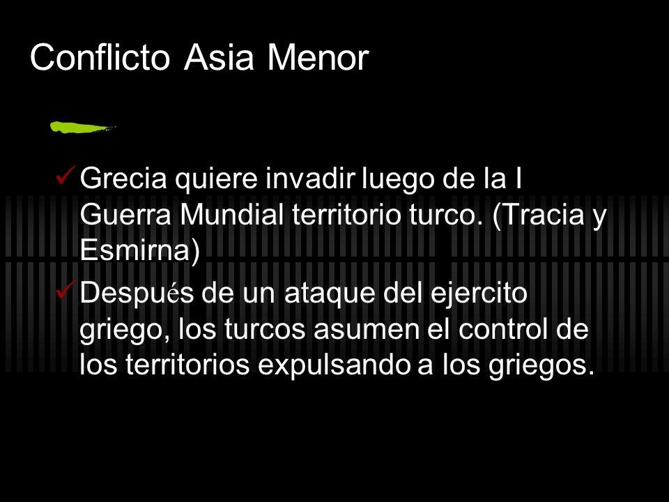 Conflicto Asia Menor Grecia quiere invadir luego de la I Guerra Mundial territorio turco. (Tracia y Esmirna) Despu é s de un ataque del ejercito grieg