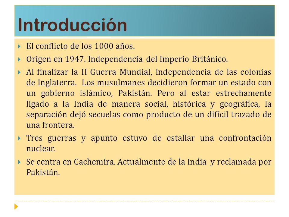Introducción El conflicto de los 1000 años. Origen en 1947. Independencia del Imperio Británico. Al finalizar la II Guerra Mundial, independencia de l
