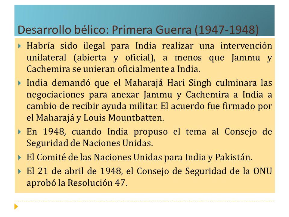 Desarrollo bélico: Tercera Guerra (1971) India comenzó a apoyar al movimiento de resistencia del Pakistán oriental, el llamado Muktihi Bahini (fuerza de liberación), dándoles refugio, armamento y adiestramiento.