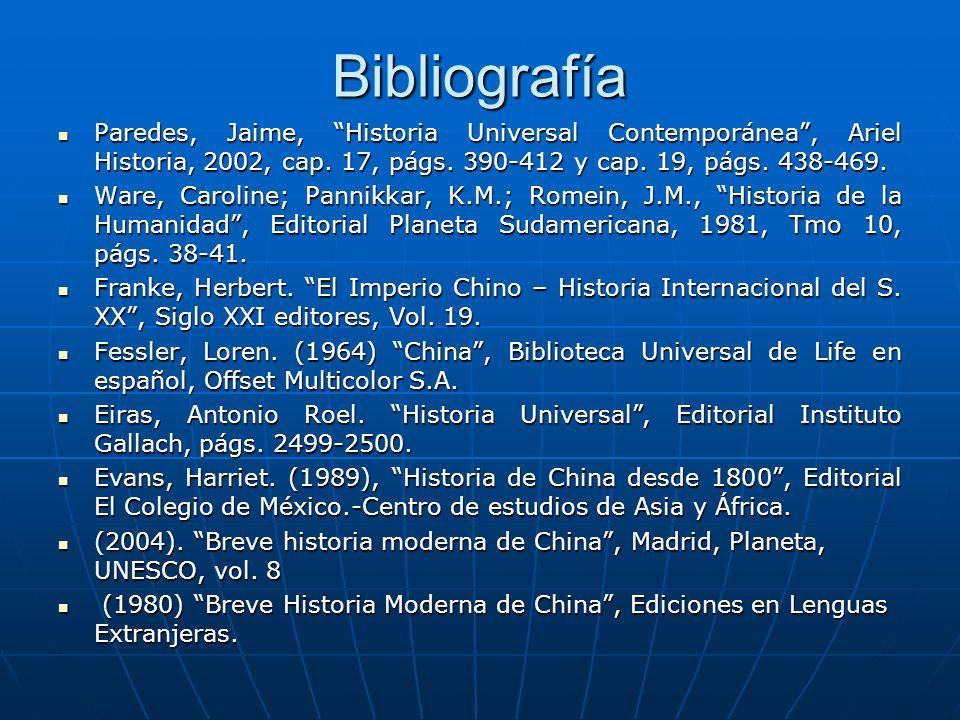 Bibliografía Paredes, Jaime, Historia Universal Contemporánea, Ariel Historia, 2002, cap.