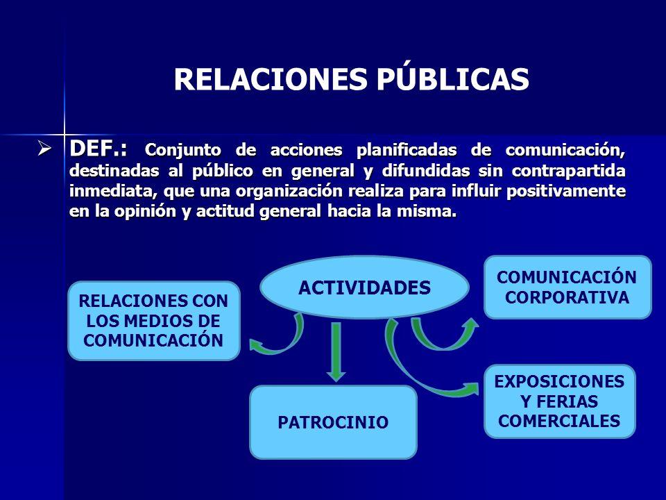 DEF.: Conjunto de acciones planificadas de comunicación, destinadas al público en general y difundidas sin contrapartida inmediata, que una organización realiza para influir positivamente en la opinión y actitud general hacia la misma.
