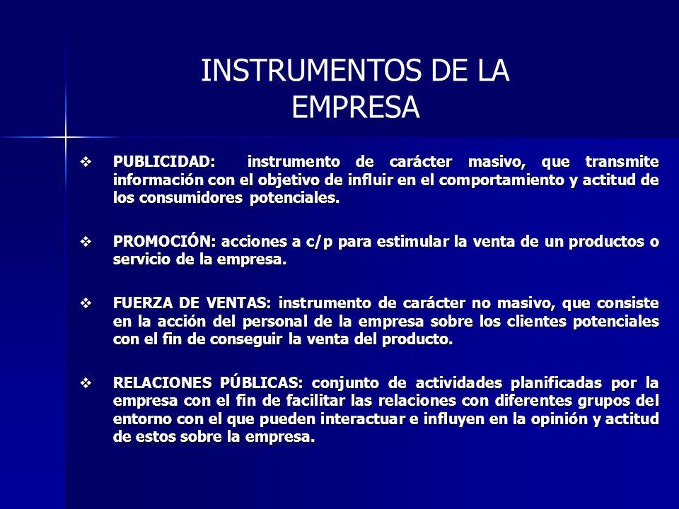 INSTRUMENTOS DE LA EMPRESA PUBLICIDAD: instrumento de carácter masivo, que transmite información con el objetivo de influir en el comportamiento y actitud de los consumidores potenciales.