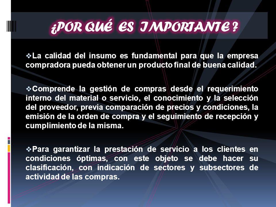 La calidad del insumo es fundamental para que la empresa compradora pueda obtener un producto final de buena calidad. Comprende la gestión de compras
