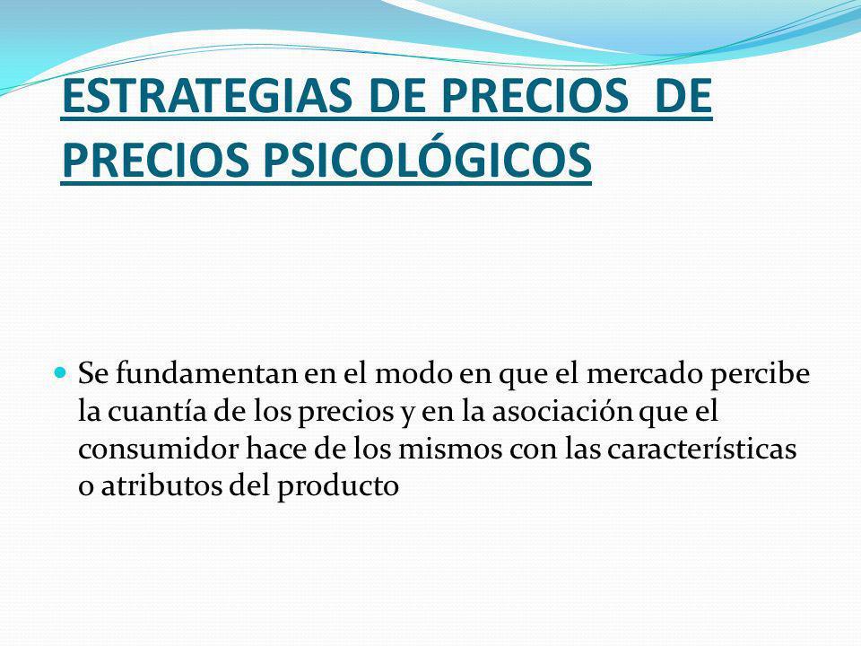 ESTRATEGIAS DE PRECIOS DE PRECIOS PSICOLÓGICOS Se fundamentan en el modo en que el mercado percibe la cuantía de los precios y en la asociación que el