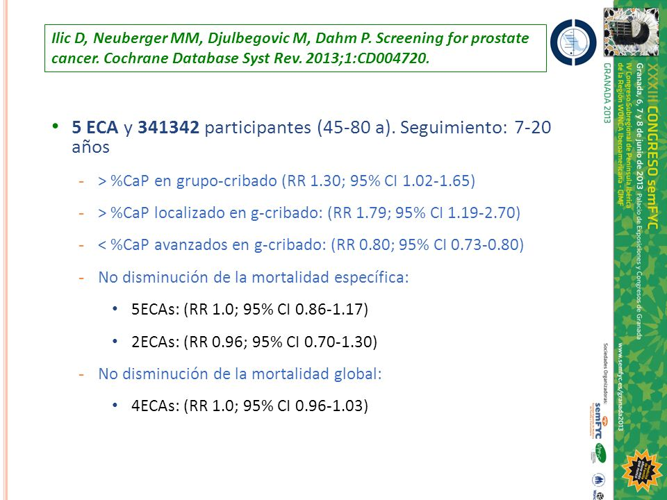Ilic D, Neuberger MM, Djulbegovic M, Dahm P. Screening for prostate cancer. Cochrane Database Syst Rev. 2013;1:CD004720. 5 ECA y 341342 participantes