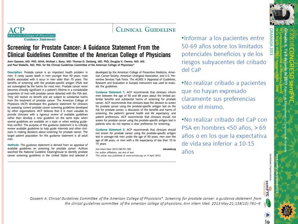 Informar a los pacientes entre 50-69 años sobre los limitados potenciales beneficios y de los riesgos subyacentes del cribado del CaP No realizar crib