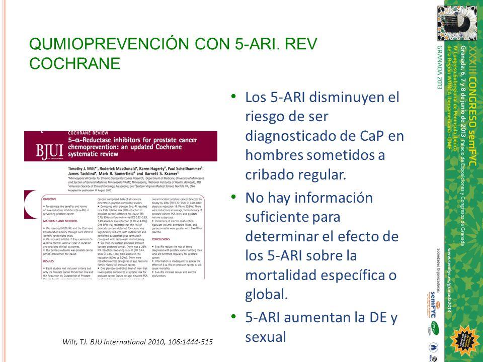QUMIOPREVENCIÓN CON 5-ARI. REV COCHRANE Los 5-ARI disminuyen el riesgo de ser diagnosticado de CaP en hombres sometidos a cribado regular. No hay info