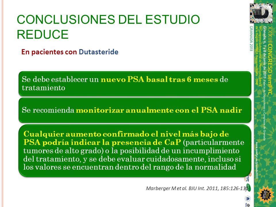 CONCLUSIONES DEL ESTUDIO REDUCE En pacientes con Dutasteride Se debe establecer un nuevo PSA basal tras 6 meses de tratamiento Se recomienda monitoriz