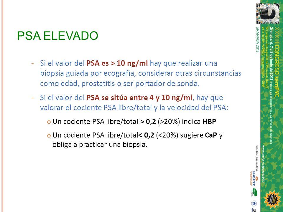 PSA ELEVADO - Si el valor del PSA es > 10 ng/ml hay que realizar una biopsia guiada por ecografía, considerar otras circunstancias como edad, prostati