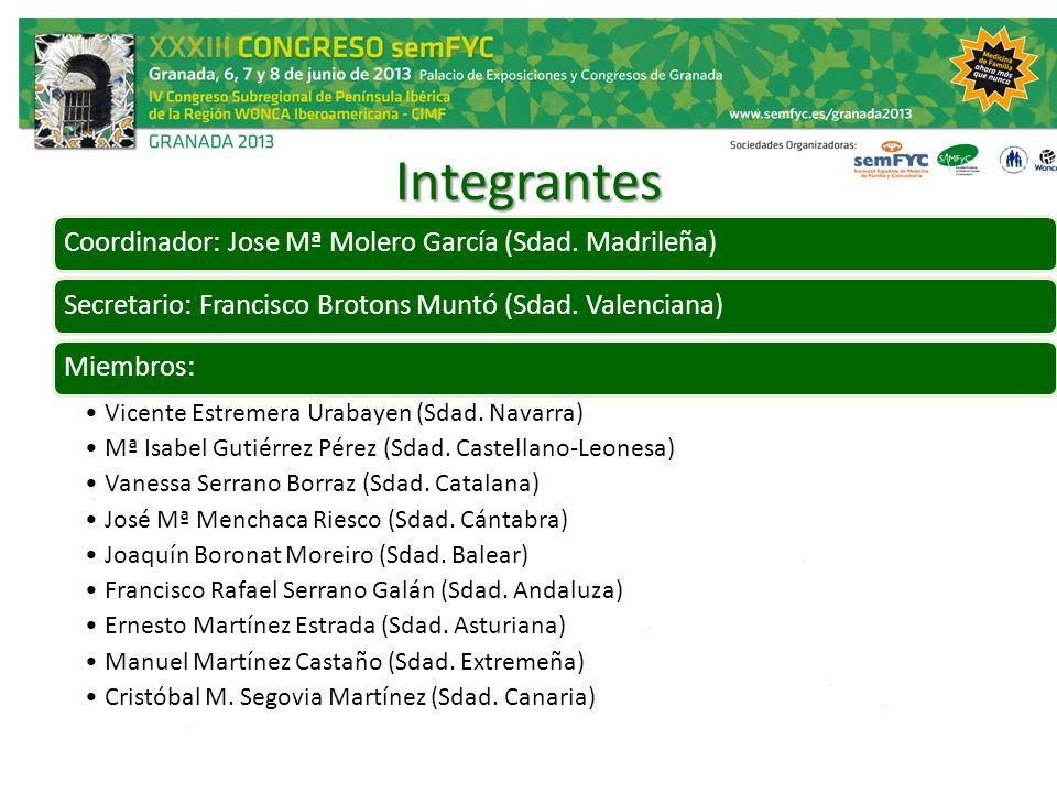 Integrantes Coordinador: Jose Mª Molero García (Sdad. Madrileña)Secretario: Francisco Brotons Muntó (Sdad. Valenciana)Miembros: Vicente Estremera Urab