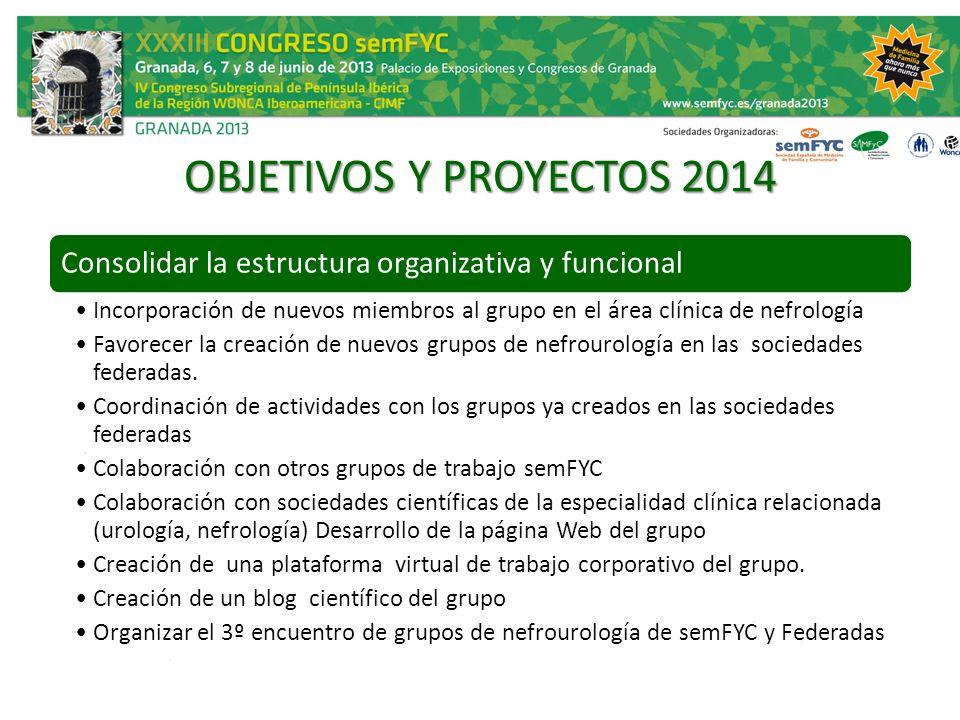 OBJETIVOS Y PROYECTOS 2014 Consolidar la estructura organizativa y funcional Incorporación de nuevos miembros al grupo en el área clínica de nefrologí