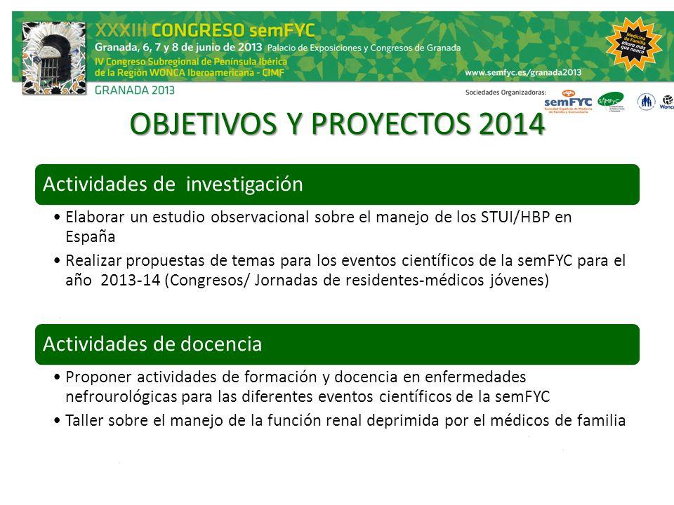 OBJETIVOS Y PROYECTOS 2014 Actividades de investigación Elaborar un estudio observacional sobre el manejo de los STUI/HBP en España Realizar propuesta