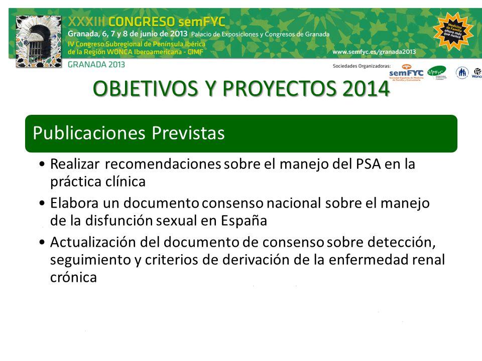 OBJETIVOS Y PROYECTOS 2014 Publicaciones Previstas Realizar recomendaciones sobre el manejo del PSA en la práctica clínica Elabora un documento consen