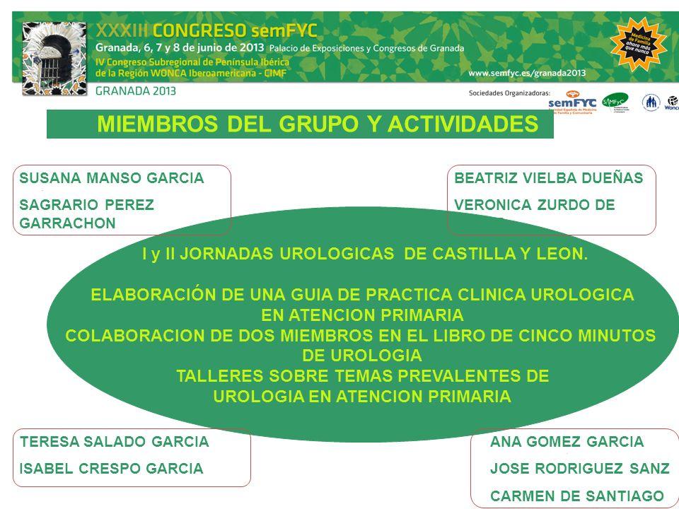 MIEMBROS DEL GRUPO Y ACTIVIDADES I y II JORNADAS UROLOGICAS DE CASTILLA Y LEON. ELABORACIÓN DE UNA GUIA DE PRACTICA CLINICA UROLOGICA EN ATENCION PRIM