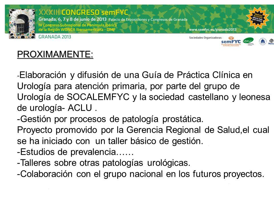 - Elaboración y difusión de una Guía de Práctica Clínica en Urología para atención primaria, por parte del grupo de Urología de SOCALEMFYC y la socied