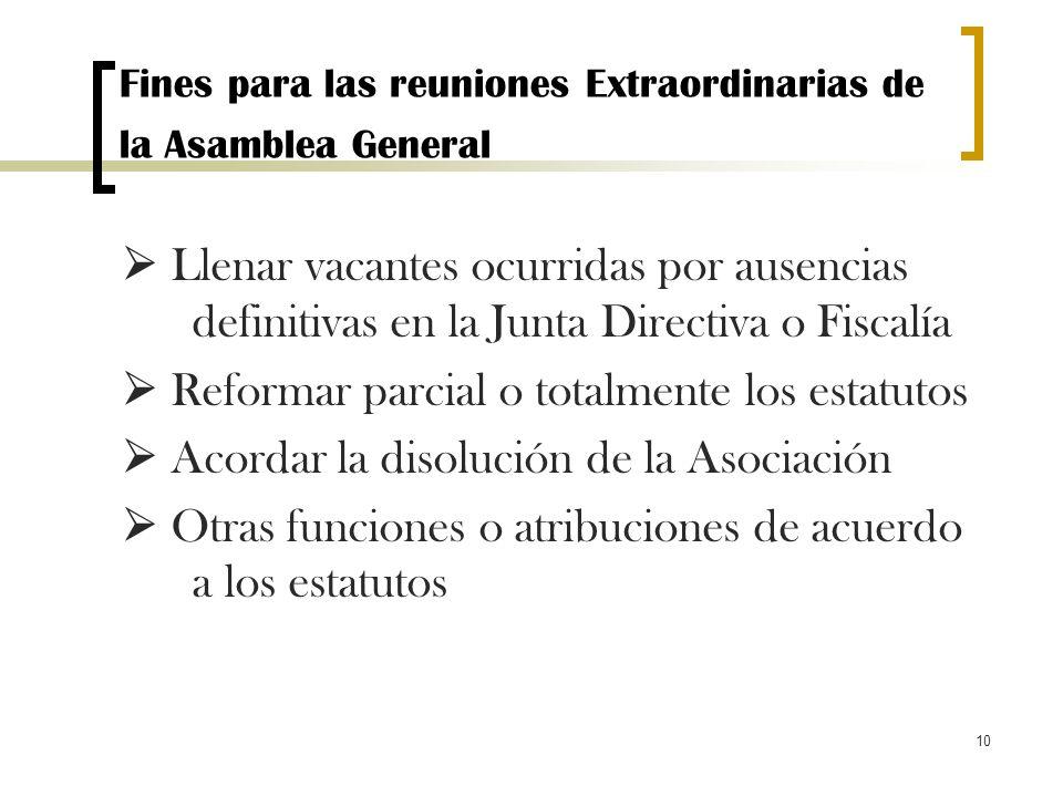 10 Fines para las reuniones Extraordinarias de la Asamblea General Llenar vacantes ocurridas por ausencias definitivas en la Junta Directiva o Fiscalí