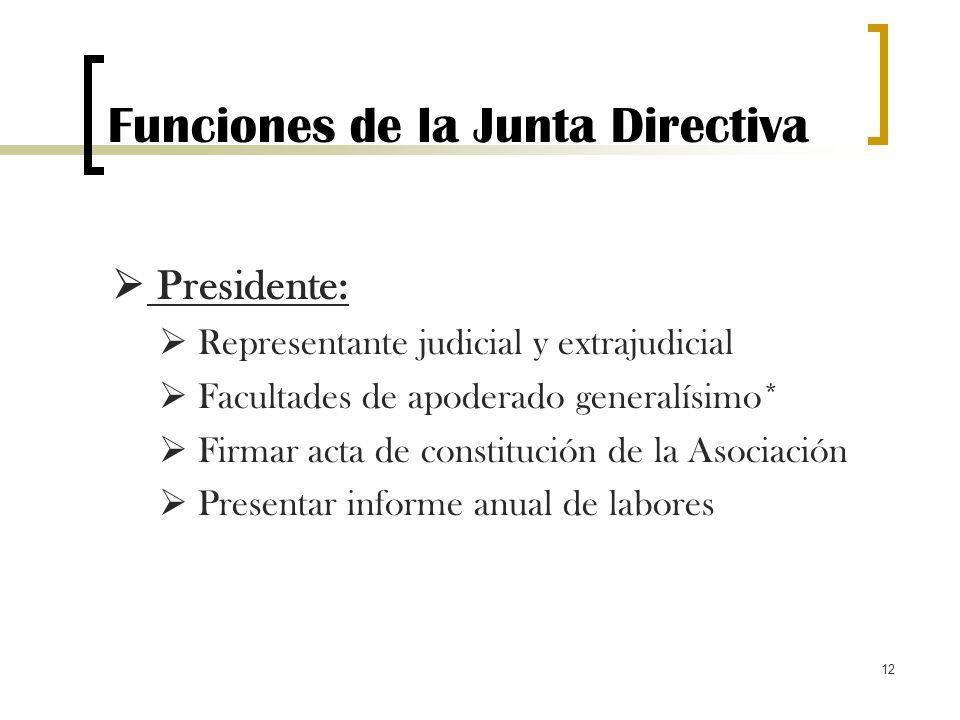 12 Funciones de la Junta Directiva Presidente: Representante judicial y extrajudicial Facultades de apoderado generalísimo* Firmar acta de constitució