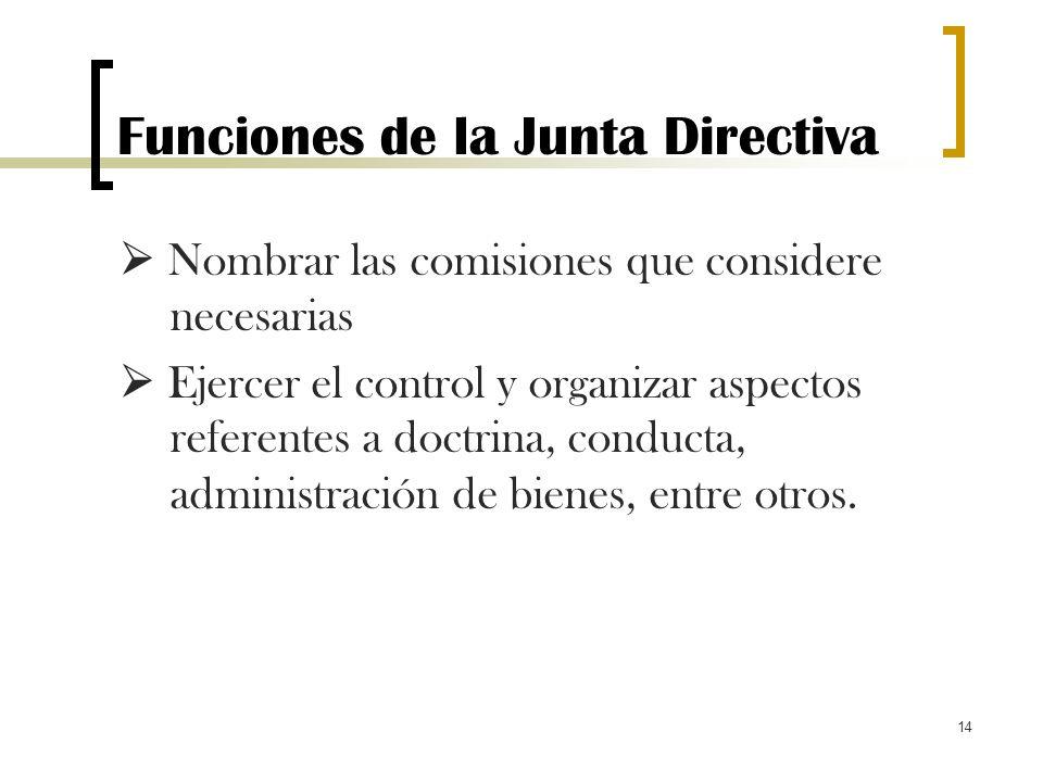 14 Funciones de la Junta Directiva Nombrar las comisiones que considere necesarias Ejercer el control y organizar aspectos referentes a doctrina, cond