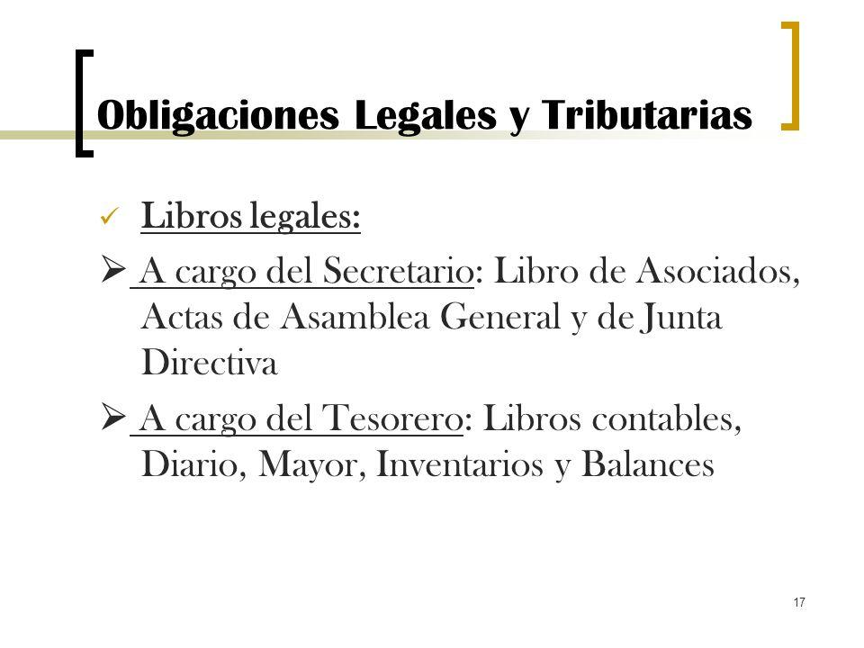 17 Obligaciones Legales y Tributarias Libros legales: A cargo del Secretario: Libro de Asociados, Actas de Asamblea General y de Junta Directiva A car
