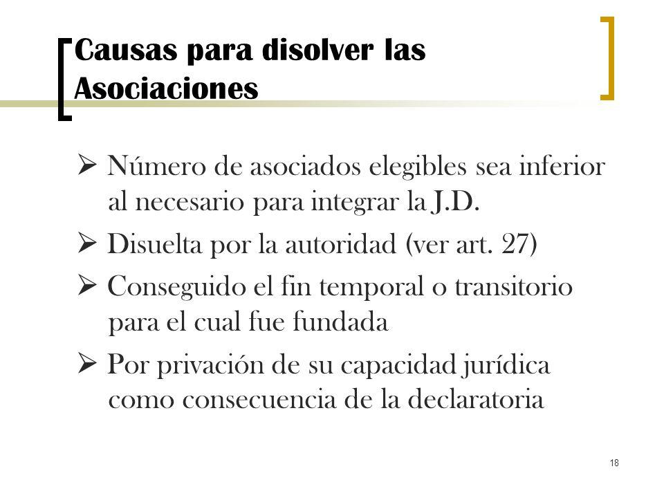 18 Causas para disolver las Asociaciones Número de asociados elegibles sea inferior al necesario para integrar la J.D. Disuelta por la autoridad (ver
