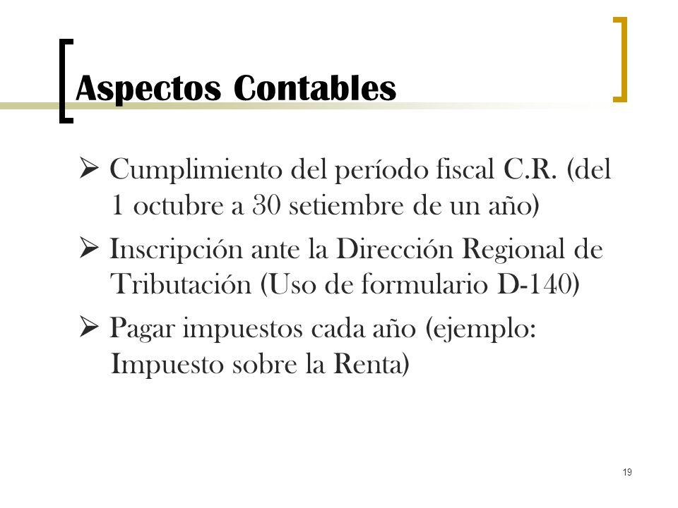19 Aspectos Contables Cumplimiento del período fiscal C.R. (del 1 octubre a 30 setiembre de un año) Inscripción ante la Dirección Regional de Tributac