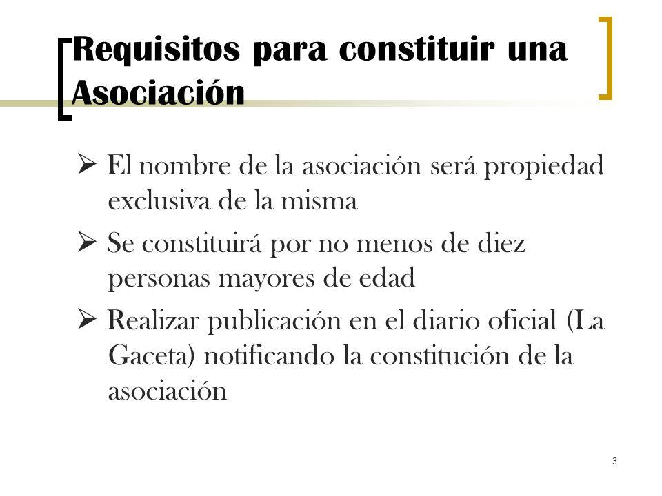 3 Requisitos para constituir una Asociación El nombre de la asociación será propiedad exclusiva de la misma Se constituirá por no menos de diez person