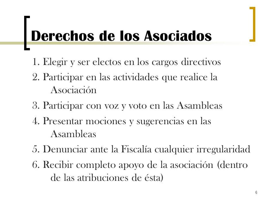 6 Derechos de los Asociados 1. Elegir y ser electos en los cargos directivos 2. Participar en las actividades que realice la Asociación 3. Participar