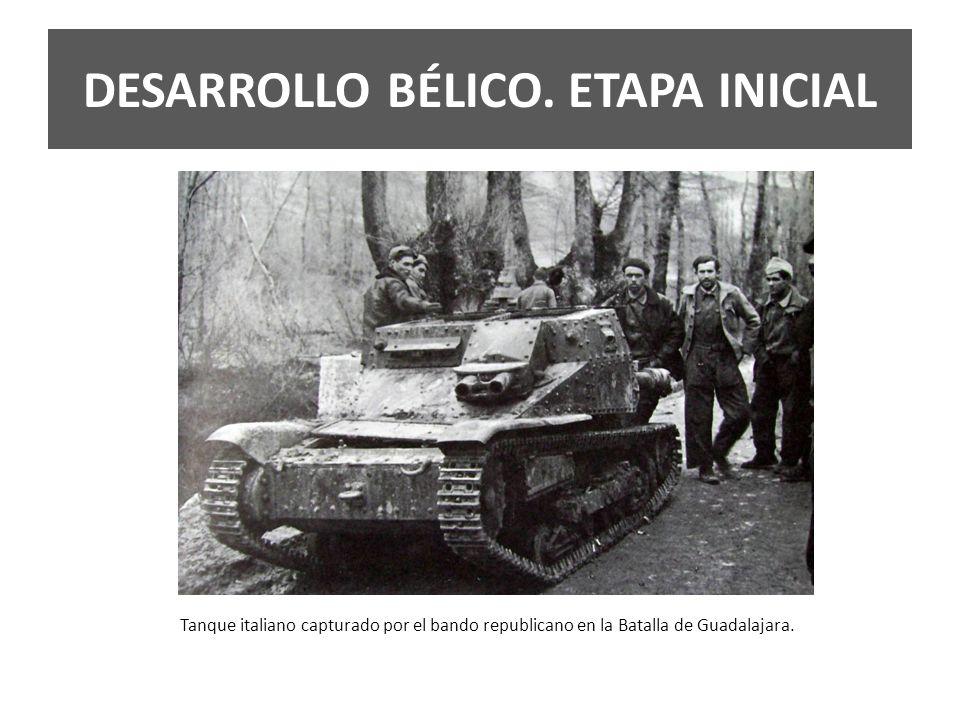 Tanque italiano capturado por el bando republicano en la Batalla de Guadalajara. DESARROLLO BÉLICO. ETAPA INICIAL
