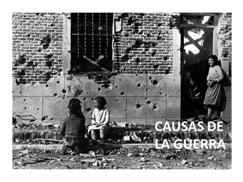 CAUSAS TEMPORALES Las causas temporales de la Guerra Civil Española se dividen en tres tipos: Causa inmediata (Golpe de Estado).