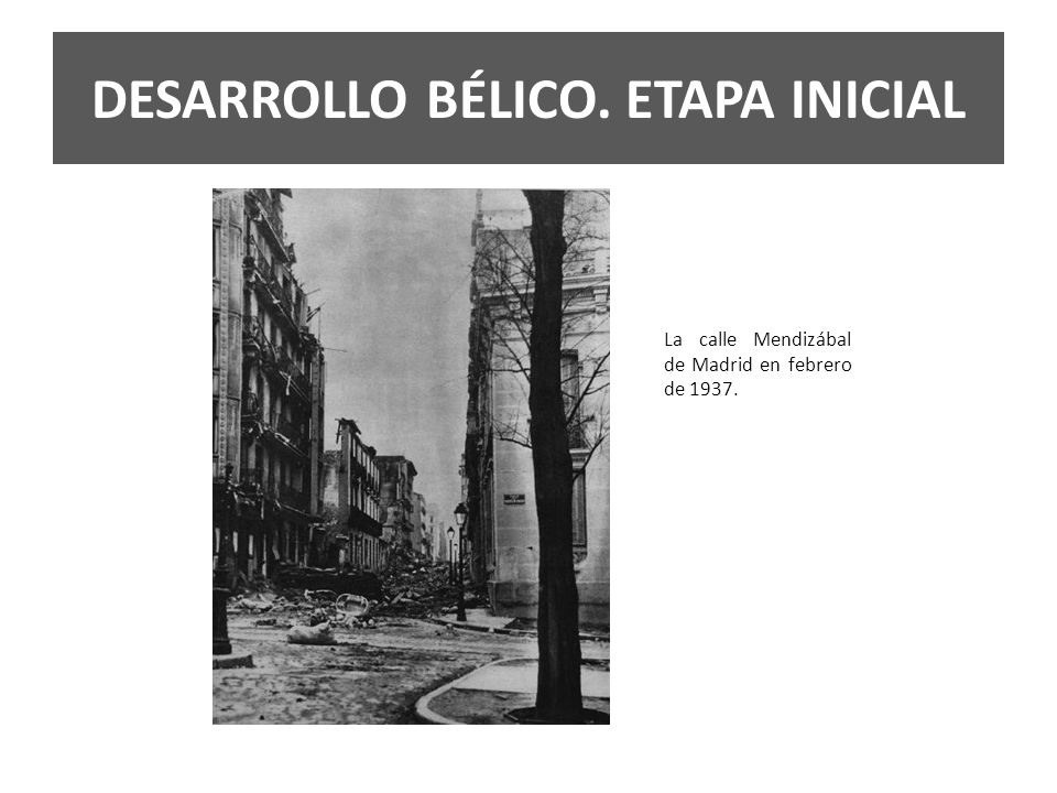 La calle Mendizábal de Madrid en febrero de 1937.