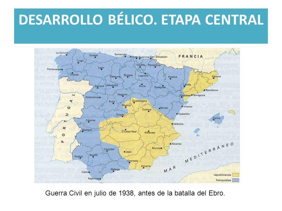 DESARROLLO BÉLICO. ETAPA CENTRAL Guerra Civil en julio de 1938, antes de la batalla del Ebro.