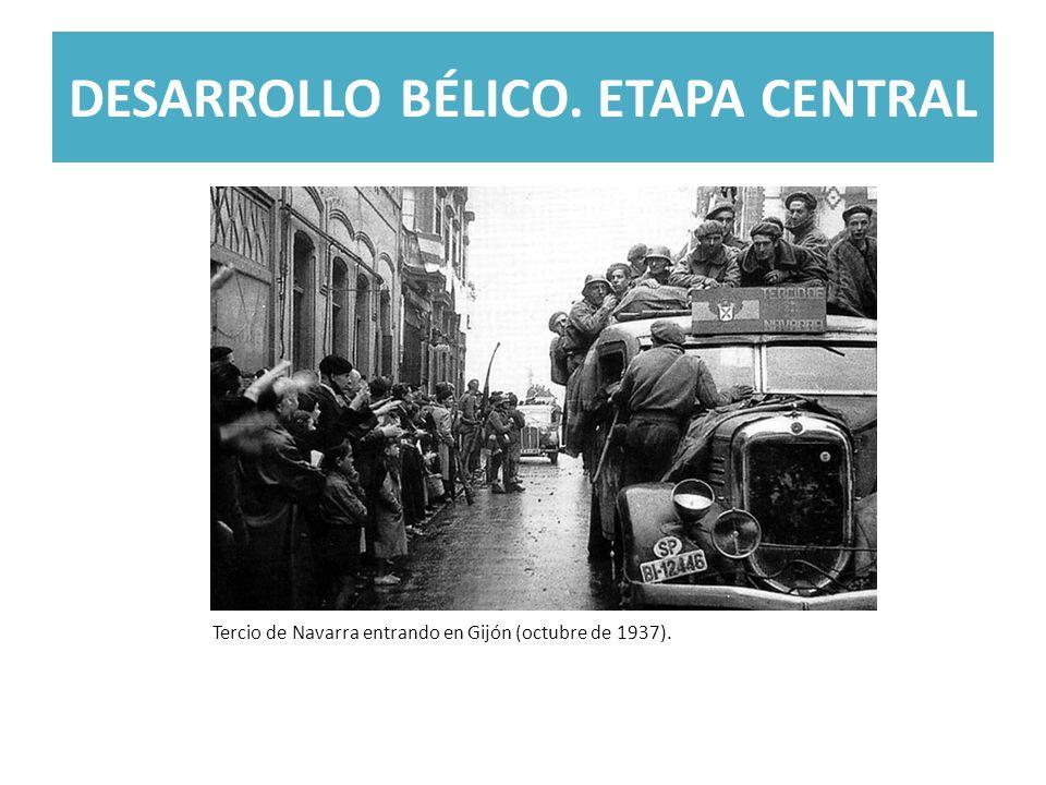 DESARROLLO BÉLICO. ETAPA CENTRAL Tercio de Navarra entrando en Gijón (octubre de 1937).