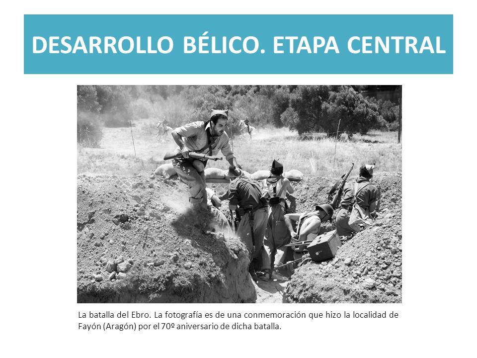 DESARROLLO BÉLICO. ETAPA CENTRAL La batalla del Ebro. La fotografía es de una conmemoración que hizo la localidad de Fayón (Aragón) por el 70º anivers