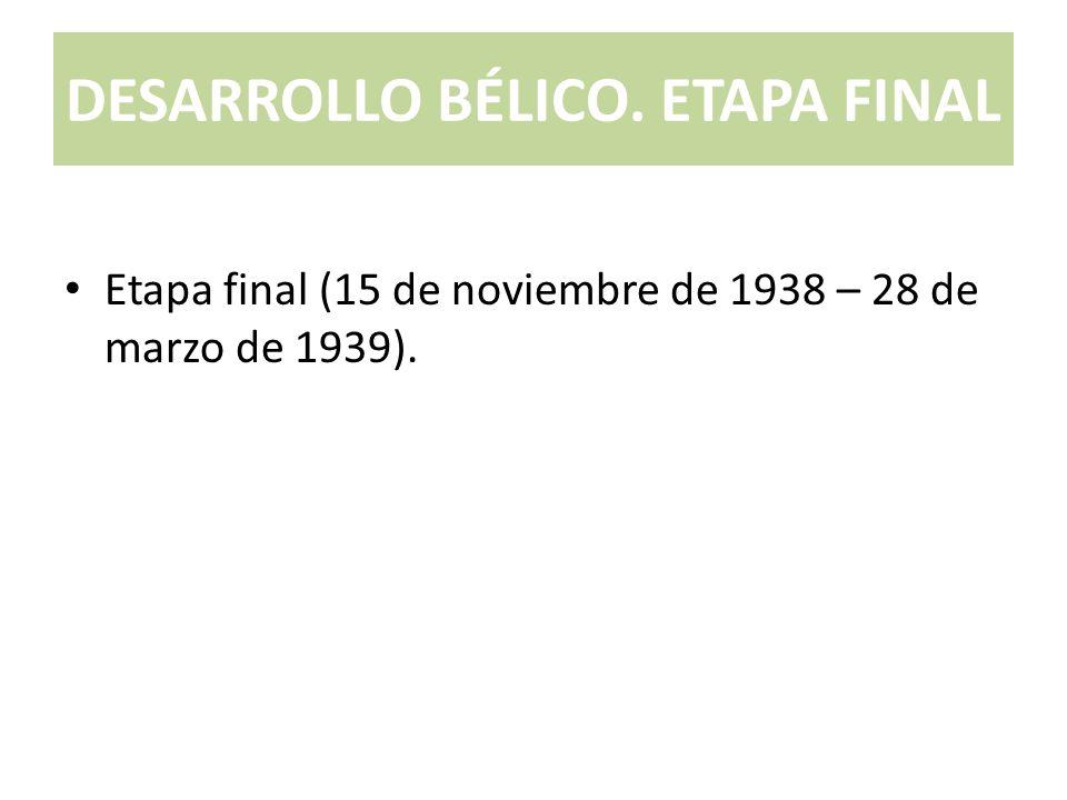 DESARROLLO BÉLICO. ETAPA FINAL Etapa final (15 de noviembre de 1938 – 28 de marzo de 1939).